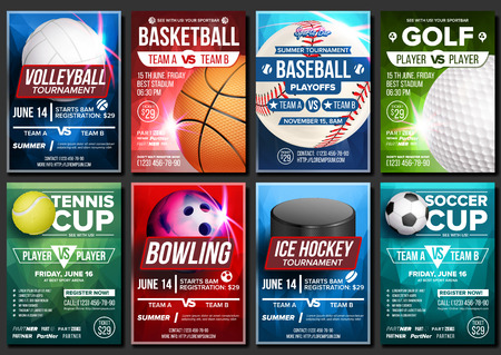 Illustration for Sport Poster Vector. Soccer, Tennis, Golf, Basketball, Bowling, Baseball, Ice Hockey. Event Design Template. Sport Bar Promo, Bowling Ball Tournament A4 Championship Flyer Announcement Illustration - Royalty Free Image