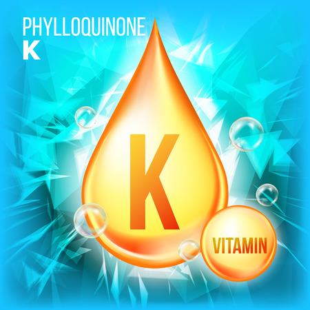 Illustration pour Vitamin K Phylloquinone Vector. Vitamin Gold Oil Drop Icon. Organic Gold Droplet Icon. For Beauty, Cosmetic, Heath Promo Ads Design. Drip 3D Complex. Illustration - image libre de droit