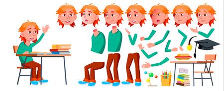 Illustration pour Boy Schoolboy Kid Vector. High School Child. Animation Creation Set. Face Emotions, Gestures. School Student. Graduation, Homework, Teacher. For Presentation, Print Invitation Design Isolated Cartoon Illustration - image libre de droit
