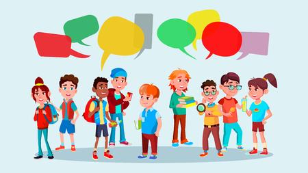 Photo pour Group Of Pupils Vector. School. Social Network. Mix Race. Chat Bubbles. Discussing. Brainstorming. Talking Communication Flat Cartoon Illustration - image libre de droit