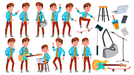 Illustration pour Teen Boy Poses Set Vector. Face. Children. For Web, Brochure, Poster Design. Isolated Cartoon Illustration - image libre de droit