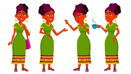 Vektor für Teen Girl Poses Set Vector. Indian, Hindu. Asian. Cute, Comic. Joy. For Postcard, Announcement Cover Design Isolated Cartoon Illustration - Lizenzfreies Bild