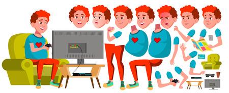 Vektor für Teen Boy Vector. Animation Creation Set. Face Emotions, Gestures. Fun, Cheerful. Red Head. Fat Gamer. Animated. For Card, Advertisement, Greeting Design. Isolated Cartoon Illustration - Lizenzfreies Bild