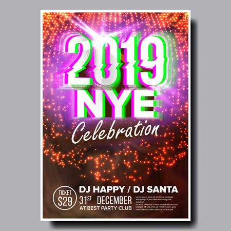 Illustration pour 2019 Party Flyer Poster Vector. Happy New Year. Holiday Invitation. Christmas Disco Light. Design Illustration - image libre de droit