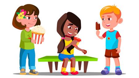 Illustration pour Group Of Boys And Girls Eating Together Vector. Illustration - image libre de droit