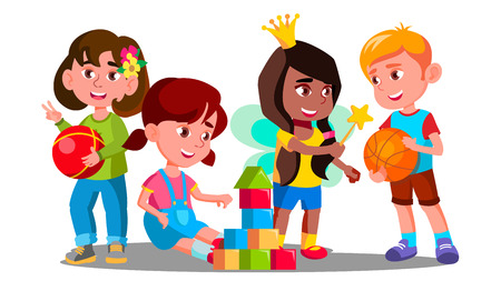 Illustration pour Group Of Children Playing With Colorful Toys On The Floor Vector. Illustration - image libre de droit