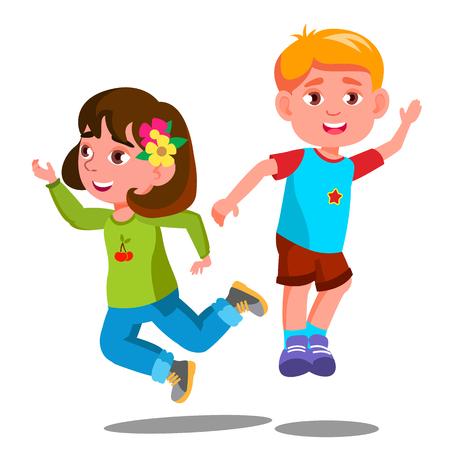 Ilustración de Group Of Happy Children Are Jumping Together Vector. Illustration - Imagen libre de derechos