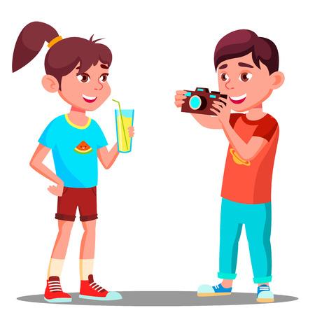 Illustration pour Little Boy Takes A Picture Of A Beautiful Girl Vector. Illustration - image libre de droit