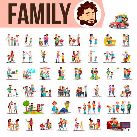 Illustration for Family Set Vector. Family Members Spending Time Together At Home, Outdoor. Father, Mother, Son, Daughter, Grandmother, Grandfather. Lifestyle Situations Cartoon Illustration - Royalty Free Image