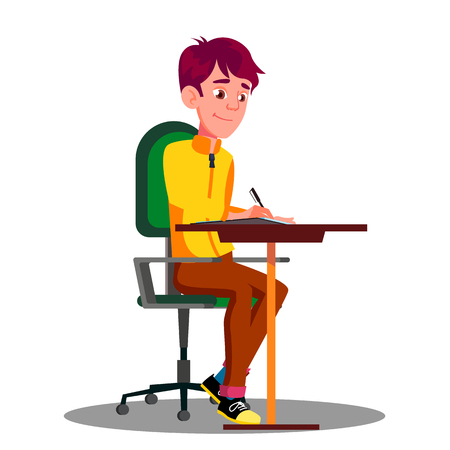 Illustration pour Student With Pen In Hand Writing Exams On Sheet Of Paper Vector. Isolated Illustration - image libre de droit