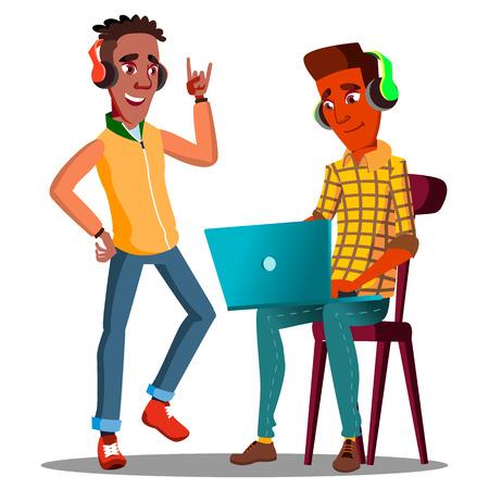 Vektor für Student Looking At Laptop And Listening To Music On Headphones Vector. Illustration - Lizenzfreies Bild