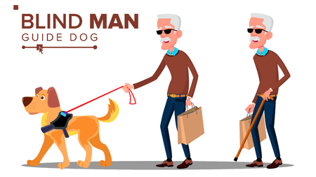 Illustration pour Blind Old Man With Dark Glasses, Cane In Hand And Guide Dog Vector. Isolated Illustration - image libre de droit