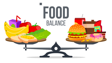 Illustration for Balance Of Healthy And Unhealthy Food Vector. Isolated Illustration - Royalty Free Image