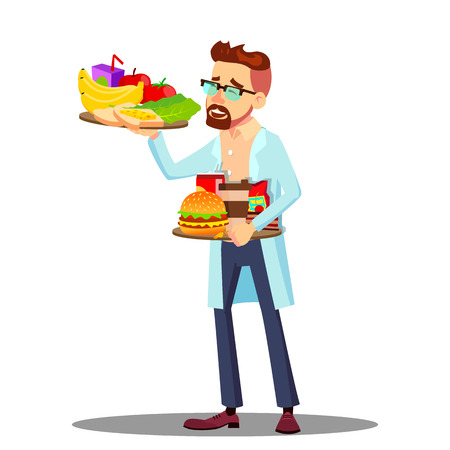 Illustration pour Nutritionist With Fruits And Hamburgers In Hands, Healthy And Unhealthy Food Vector. Isolated Illustration - image libre de droit