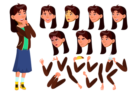 Vektor für Asian Teen Girl Vector. Teenager. Positive Person. Face. Children. Face Emotions, Various Gestures. Animation Creation Set. Isolated Flat Cartoon Illustration - Lizenzfreies Bild