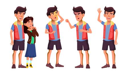 Vektor für Asian Teen Boy Poses Set Vector. Activity, Beautiful. Girlfriend In Love. For Cover, Placard Design. Isolated Illustration - Lizenzfreies Bild