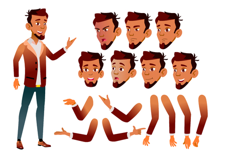 Illustration pour Arab, Muslim Teen Boy Vector. Teenager. Beauty, Lifestyle. Face Emotions, Various Gestures. Animation Creation Set. Isolated Flat Cartoon Character Illustration - image libre de droit