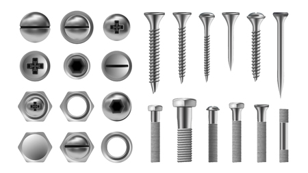 Illustration pour Metal Screw Set Vector. Stainless Bolt. Hardware Repair Tools. Head Icons. Nails, Rivets, Nuts Realistic Illustration - image libre de droit