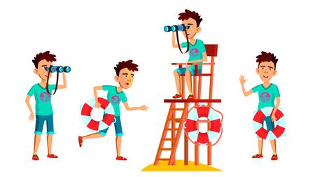 Vektor für Asian Teen Boy Poses Set Vector. Face. Lifeguard On The Beach. Sea, Vacation. For Web, Brochure, Poster Design. Cartoon Illustration - Lizenzfreies Bild