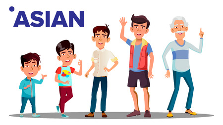 Illustration pour Asiatic Generation Male People Person Vector. Asian Grandfather, Father, Son, Grandson, Baby Vector. Isolated Illustration - image libre de droit