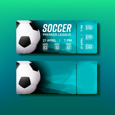 Illustration pour Ticket Tear-off Coupon For Soccer Match Vector. Design Stylish Ticket For Visit Stadium And Watching World Championship Football Game. Ball, Team Names And Venue Information. Realistic 3d Illustration - image libre de droit