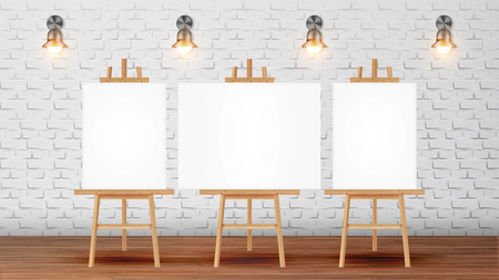 Illustration pour Classroom For Painter Course With Equipment Vector. Classroom For Creativity Lessons Decorated Blank Canvas Desks For Pictures On Tripod, Lighting Sconces On Brick Wall. Realistic 3d Illustration - image libre de droit