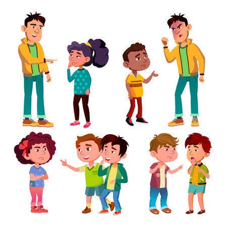 Illustration pour Sad And Angry Victim Character Boy And Girl Vector. Teenager Boy Laughing And Swear On Victim Kids, Children Trolling Abusive Classmate. Social Bullying Concept Flat Cartoon Illustration - image libre de droit