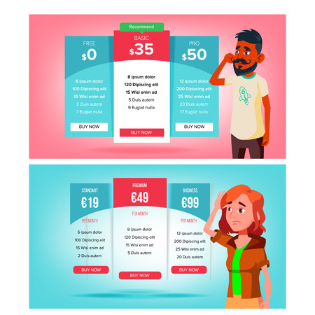 Illustration for Bewildered Character Choose Subscription Vector. Sad Young Man And Woman Standing Near Bright Pricing Panels And Select Subscription. Different Types Of Payment Flat Cartoon Illustration - Royalty Free Image