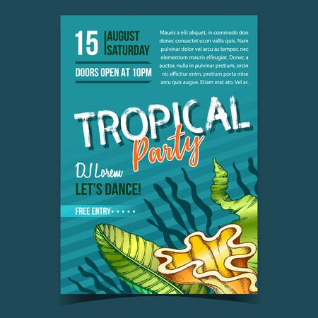 Illustration for Tropical Leaf, Seaweeds And Shell Banner Vector. Decorative Jungle Floral Frond Leaf And Sea Plant On Invite Flyer. Beautiful Nature Botanical Tree Herb Designed In Retro Style Illustration - Royalty Free Image