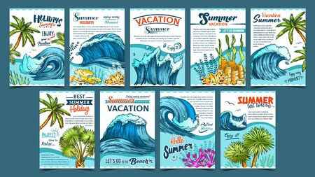 Illustration pour Wave, Palm Trees And Seaweeds Banner Set Vector. Collection Creative Advertising Poster With Green Leaves Plants, Seaweeds And Marine Tides. Summer Vacation Holidays Colorful Template Illustrations - image libre de droit