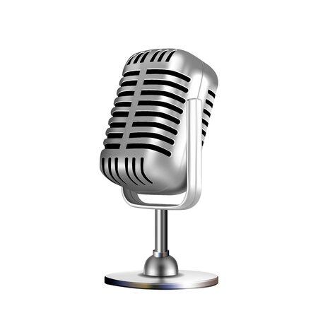 Illustration pour Microphone Retro Vocal Radio Equipment Vector. Audio Microphone For Online Anchorperson Studio Or Karaoke Bar Device. Chrome Silver Color Concept Template Realistic 3d Illustration - image libre de droit