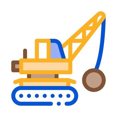Illustration for Demolish Machine Icon Vector. Outline Demolish Machine Sign. Color Isolated Contour Symbol Illustration - Royalty Free Image