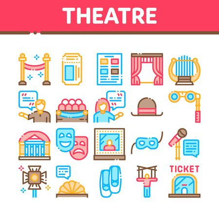 Illustration pour Theatre Equipment Collection Icons Set Vector. Theatre Ticket And Binoculars, Mask And Microphone, Curtain And Seats, Building And Hat Concept Linear Pictograms. Color Contour Illustrations - image libre de droit