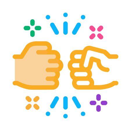 Illustration pour Friend Fist Bump Icon Vector. Outline Friend Fist Bump Sign. Isolated Contour Symbol Illustration - image libre de droit