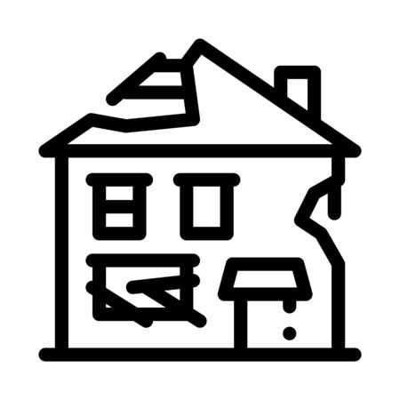 Illustration pour ruined house icon vector. ruined house sign. isolated contour symbol illustration - image libre de droit