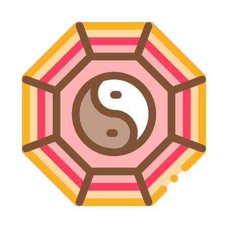 Illustration pour rug with yin yang pattern top view icon vector. rug with yin yang pattern top view sign. color symbol illustration - image libre de droit