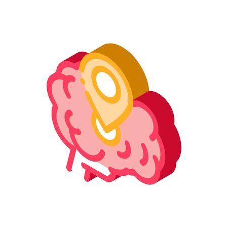 Illustration pour dementia brain location gps sign icon vector. isometric dementia brain location gps sign sign. color isolated symbol illustration - image libre de droit
