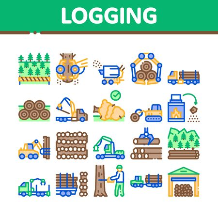 Illustration for Wood Logging Industry Collection Icons Set Vector. Forest Material Logging Transportation And Storaging, Lumberjack Cutting Tree Concept Linear Pictograms. Color Illustrations - Royalty Free Image
