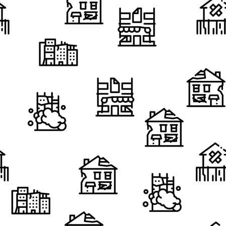 Illustration pour Broken House Building Seamless Pattern Vector Thin Line. Illustrations - image libre de droit