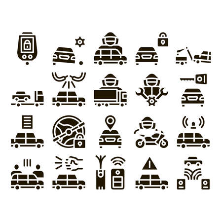 Illustration for Car Theft Collection Elements Icons Set Vector Thin Line. Car Theft On Truck, Thief Silhouette Near Motorcycle And Van, Signaling And Electronic Key Pictograms. Monochrome Contour Illustrations - Royalty Free Image