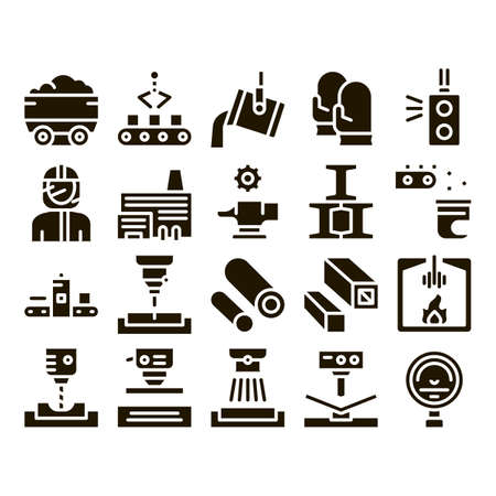 Illustration pour Metallurgical Collection Elements Icons Set Vector Thin Line. Factory Furnace, Metal Melting And Metallurgical Pipe Foundry Glyph Pictograms Black Illustrations - image libre de droit