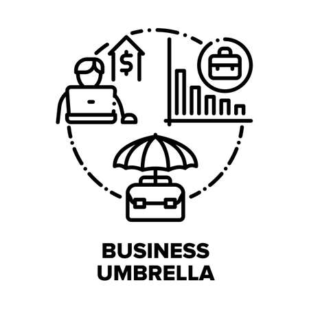 Illustration pour Business Umbrella Accessory Vector Icon Concept. Business Umbrella Professional Recruitment, Training, Consulting And Advertising Company. Financial Report And Safe Black Illustration - image libre de droit