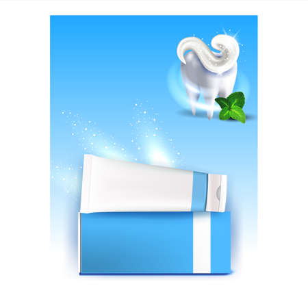 Illustration pour Toothpaste Tooth Protection Promo Poster Vector Illustration - image libre de droit