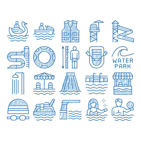 Illustration for Water Park Attraction sketch icon vector. Hand drawn blue doodle line art Swimming Wear And Equipment, Life Jacket And Lifebuoy, Boat And Water Park Pool Illustrations - Royalty Free Image