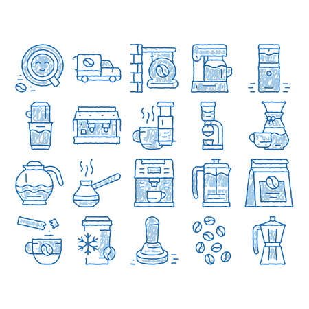 Illustration pour Coffee Energy Drink sketch icon vector. Hand drawn blue doodle line art Coffee Beans And Package, Grinder And Machine For Make Beverage, Cup And Pot Illustrations - image libre de droit
