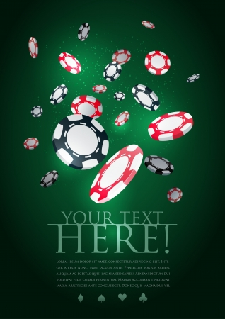 Poker gambling chips poster template