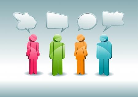 Illustration pour A group of characters is having a discussion  - image libre de droit