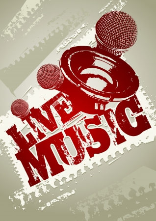 Illustration for Live music grunge poster template  - Royalty Free Image
