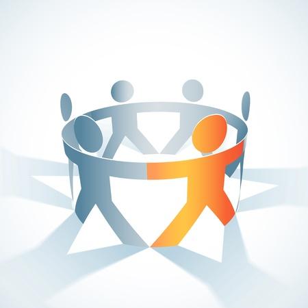togetherness concept illustration  People symbol chain