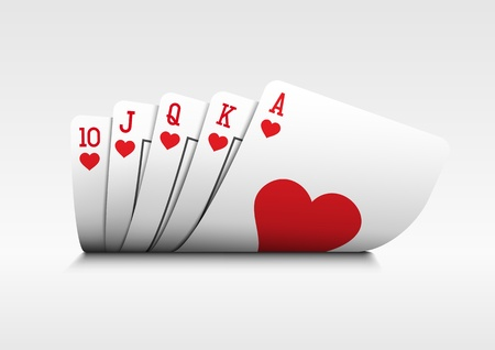 Royal flush playing cards poker hand on white background